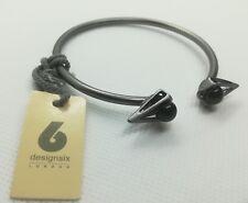 Ladies DesignSix Grey Bangle/Cuff Spike Bracelet One Size