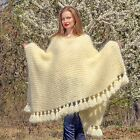 Hand knitted mohair sweater fuzzy poncho with tassels ivory off white SUPERTANYA