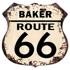 BPHR0038 BAKER ROUTE 66 Shield Rustic Chic Sign  MAN CAVE Funny Decor Gift