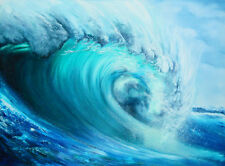 OCEAN WAVE PAINTING- QUALITY CANVAS ART PRINT- Poster A2