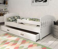Pine Wood Slatted Bed Frame for Children Toddler White Blue Red Colours Mattress