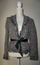 Cache tweed blazer ribbon waist size 2 black pink blue tan metallic gold NWT