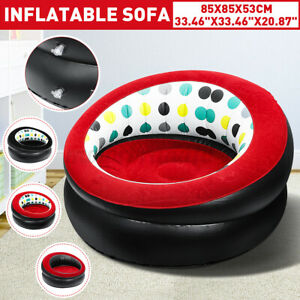 Indoor Inflatable Lounge Chair Portable Lazy Sofa Travel Air Round Seat Adult