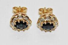 9ct Gold Blue Sapphire & Diamond Cluster Stud Earrings