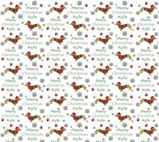 Personalised Christmas Gift Wrap SAUSAGE DOG DACHSHUND Wrapping Paper