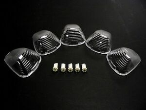 99-14 FORD F250 F350 PICK UP TRUCK 5 PC LED CLEAR CAB ROOF LIGHTS COVERS KIT