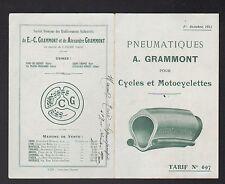 """PONT-de-CHERUY (38) USINE de PNEUS pour VELO & MOTOS """"GRAMMONT"""" Tarifs en 1913"""
