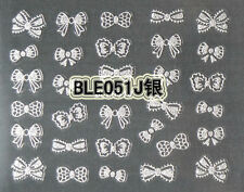 Silver Glitter Cute Bows 3D Nail Art Stickers Decals UV Acrylic Tips Decoration