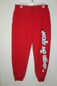 NEW Disney Mickey and Friends Junior's Jogger Fleece Sweat Pants in Red