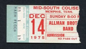 1975 Allman Brothers Concert Ticket Stub Memphis TN Win Lose or Draw