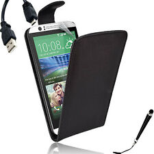 Black Leather Flip Case Cover for HTC Desire 510 + SP & Stylus & Cable