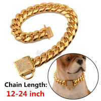 24''PET PUPPY DOG CHAIN COLLAR PUNK GOLD CAT WIDE NECKLACE COLLAR