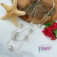 SILVER NECKLACE DOUBLE DROP SPHERES DESIGN NICKLE FREE NECKLACE