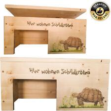 Schildkrötenhaus Terrarium Schutzhaus mit Motiven, Holzlasur & Aufklappbar NEU