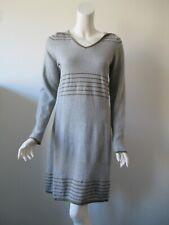 Prana Gray Olive Green Striped Hooded Long Sleeve Knit Sweater  Dress S