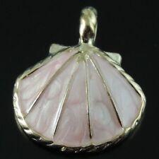 39564 Rose Golden Alloy Pink Enamel Shell Conch Charms Pendant 24*20*4mm 16PCS