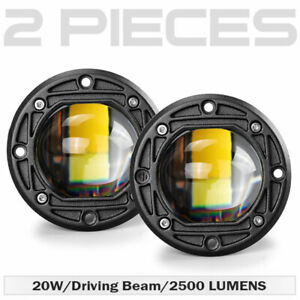 """2x 3"""" Flush Mount LED Light Bar Pods Spot Driving Fog Work Offroad  Yellow+White"""