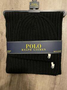 Polo Ralph Lauren Men's 2 Piece Set Hat & Scarf Navy Lambswool Blend BRAND NEW
