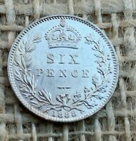 1888 Victorian Silver Sixpence 0.9250 AU Superb