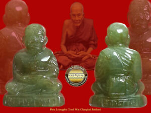 PHRA LP TOUD WAT CHANGHAI JADE CAVED MAGIC STATUE REAL JADE BUDDHA THAI AMULET