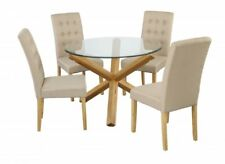 New Stunning Round Glass Top Dining Set - Table and 4 Fabric Beige Chairs
