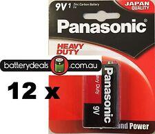 12 Panasonic Heavy Duty Batteries 9V 6F22DP smoke alarm