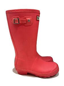 Hunter Tall Boots Kids Original Bright Coral Size US-4 UK-2 EUR-34