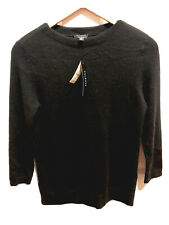 TALBOTS XS black pullover 100% cashmere sweater high neck 3/4 sleeve NWT