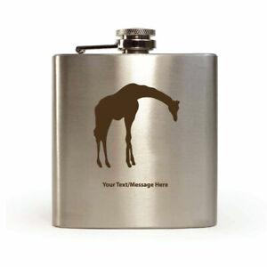 Personalised Hip Flask Giraffe