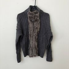DKNY Cardigan Sweater Gray with Taupe Faux Fur Trim Small - fits like Medium