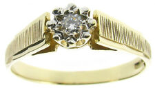 Ladies diamonds rings solitaire engagement size P round 0.10ct stone 9Carat 9ct