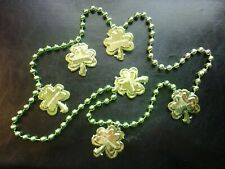 "Saint Patricks Day Plastic Jewelry Green Necklace (6 1.3 Inch Clovers) 32"" Long"