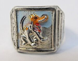 1940's Disney PLUTO painted sterling silver ring.  Ingersoll