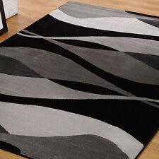 Flair Rugs Sincerità moderno CONTORNO Tappeto nero 120cm x 170cm(4ft x 168cm)
