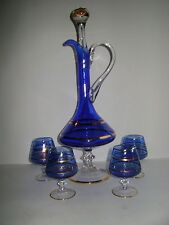 ITALY VENETIAN DECANTER & 4 GLASS COBALT BLUE,MOSER STYLE,SCROLL,GOLD TRIM