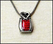 Sweet BRIGHTON Red Enamel / Resin Heart Logo Pendant Necklace