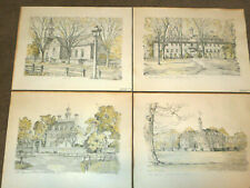 """Set of 4 Charles H Overly Williamsburg VA Pencil Drawing Prints 12"""" x 9"""" signed"""