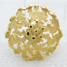 VTG CROWN TRIFARI Gold Tone Abstract Modern Round Circle Openwork Brooch Pin