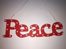 CHRISTMAS - Nordic Red Polka Dot- PEACE - Cut Out Wood Sign Plaque Ornament