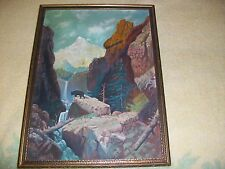 RARE SIGNED Original ART~M.E.LUDWIG~OIL PAINTING BEAR@Yosemite/Tetons/Falls'1930