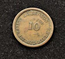 J.J. Benson 10 Cents Sutler Token 1St Mtd Rifles Civil War Less Than 75 Exist!