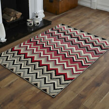 Large 8-10mm Thick Clearance Alpha 160x230cm Quality Multi Modern Soft Rugs 11. Wave Grey Red Pink Black