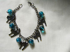 GUNMETAL CAT CHARM BRACELET WITH TURQUOISE GLASS BEADS MADE IN UK