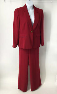 Tahari ASL 18 Red Pant Suit Set Women's Career Suit