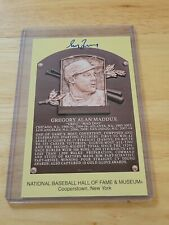 Greg Maddux Signed Gold HOF Plaque Postcard Yellow Atlanta Braves Autograph JSA