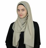 Sedef Islamic Women's Textured Micro Chiffon Hijab Scarf Shawl Wrap Beige