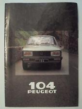 PEUGEOT 104 HATCHBACK orig 1980 French Mkt Sales Brochure Depliant - GL GR SR S
