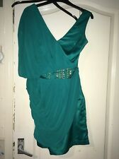 Lipsy London 12 Green Asymmetrical Evening Dress.Drape,Thigh Length V Neck prom