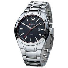 CURREN Silver Black Stainless Steel Date Analog Quartz Mens Sport Wrist Watch
