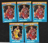 1990 Fleer All  Stars Sticker Lot *(1)Magic Jonson(4)Charles Barkley--5 total